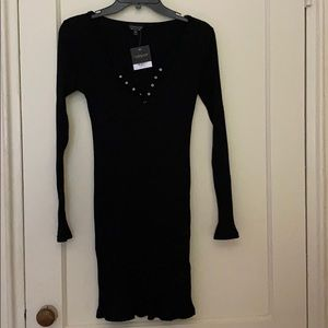 NWT Topshop black sweater ribbed dress size: 8